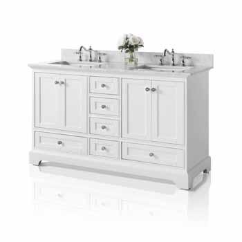 60'' - White / Italian Carrara Top - Angle View
