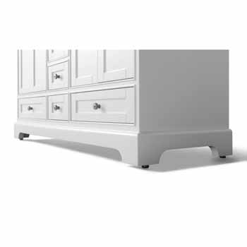 60'' - White / Italian Carrara Top - Close-Up - Bottom