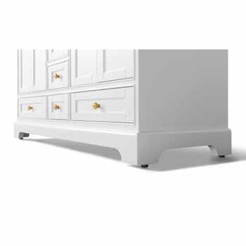 60'' - White / Italian Carrara Top / Gold Hardware - Close-Up - Bottom