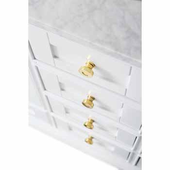 60'' - White / Italian Carrara Top / Gold Hardware - Close-Up - Drawers View 1