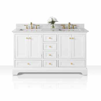 60'' - White / Italian Carrara Top / Gold Hardware - Display View