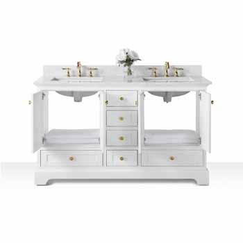 60'' - White / Italian Carrara Top / Gold Hardware - Front Open View 1