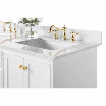 60'' - White / Italian Carrara Top / Gold Hardware - Close-Up - Top View 2