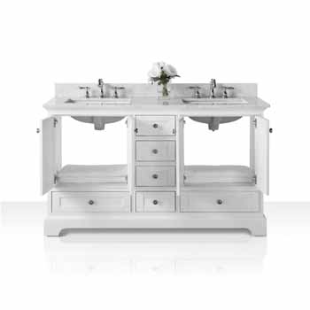 60'' - White / Italian Carrara Top - Front Open View 1
