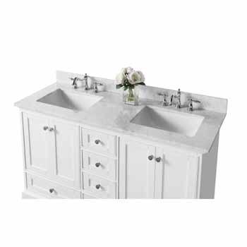 60'' - White / Italian Carrara Top - Close-Up - Top View 1
