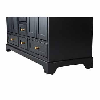 72'' - Onyx Black / Italian Carrara Top / Gold Hardware - Close-Up - Bottom