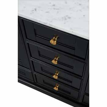 72'' - Onyx Black / Italian Carrara Top / Gold Hardware - Close-Up - Drawers View 1