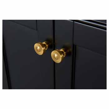72'' - Onyx Black / Italian Carrara Top / Gold Hardware - Close-Up - Drawers View 3