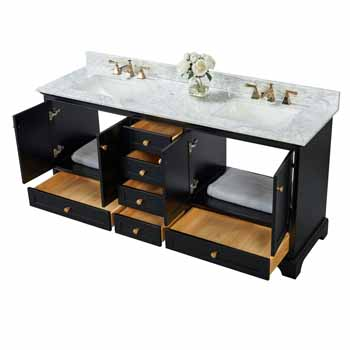 72'' - Onyx Black / Italian Carrara Top / Gold Hardware - Front Open View 3