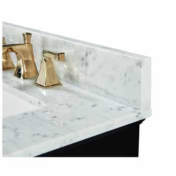 72'' - Onyx Black / Italian Carrara Top / Gold Hardware - Close-Up - Top