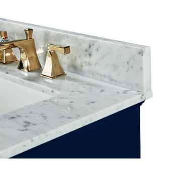 72'' - Heritage Blue / Italian Carrara Top / Gold Hardware - Close-Up - Top View 2