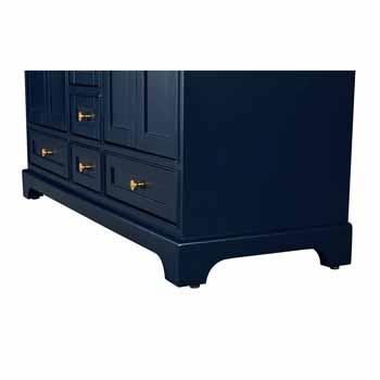 72'' - Heritage Blue / Italian Carrara Top / Gold Hardware - Close-Up - Bottom