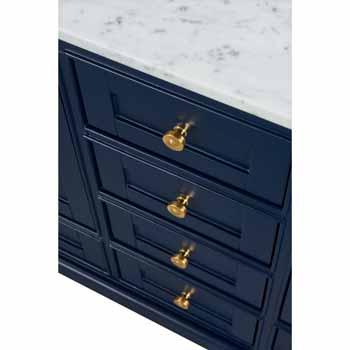 72'' - Heritage Blue / Italian Carrara Top / Gold Hardware - Close-Up - Drawers View 1