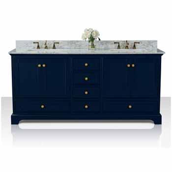 72'' - Heritage Blue / Italian Carrara Top / Gold Hardware - Display View