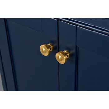 72'' - Heritage Blue / Italian Carrara Top / Gold Hardware - Close-Up - Drawers View 3