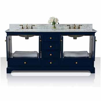 72'' - Heritage Blue / Italian Carrara Top / Gold Hardware - Front Open View 1