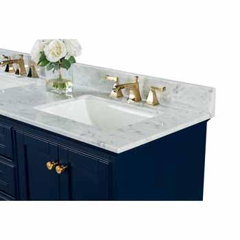 72'' - Heritage Blue / Italian Carrara Top / Gold Hardware - Close-Up - Top View 1