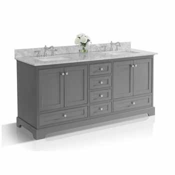 72'' - Sapphire Gray / Italian Carrara Top - Angle View