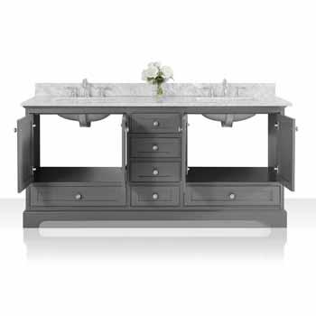 72'' - Sapphire Gray / Italian Carrara Top - Front Open View 1