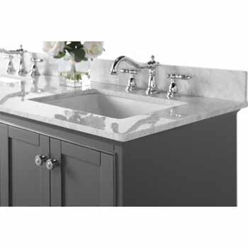 72'' - Sapphire Gray / Italian Carrara Top - Close-Up - Top View 2