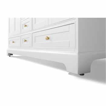 72'' - White / Italian Carrara Top / Gold Hardware - Close-Up - Bottom