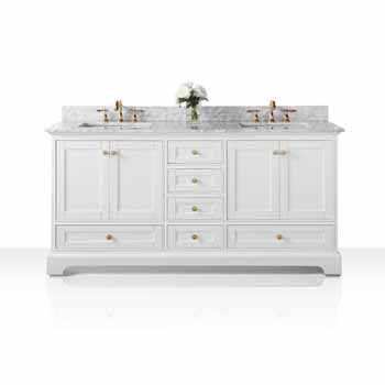 72'' - White / Italian Carrara Top / Gold Hardware - Display View
