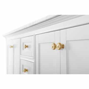 72'' - White / Italian Carrara Top / Gold Hardware - Close-Up - Drawers