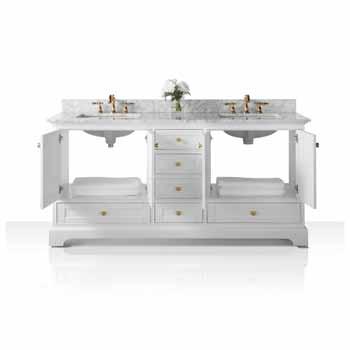 72'' - White / Italian Carrara Top / Gold Hardware - Front Open View 1