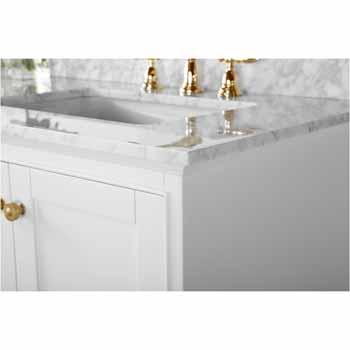 72'' - White / Italian Carrara Top / Gold Hardware - Close-Up - Top View 1