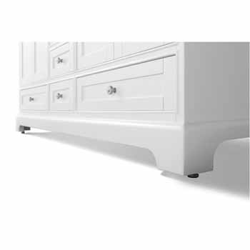 72'' - White / Italian Carrara Top - Close-Up - Bottom