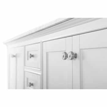 72'' - White / Italian Carrara Top - Close-Up - Drawers View 1