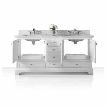 72'' - White / Italian Carrara Top - Front Open View 1