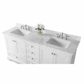 72'' - White / Italian Carrara Top - Close-Up - Top
