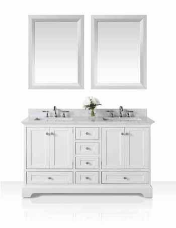 60'' White / Italian Carrara Top - Display View