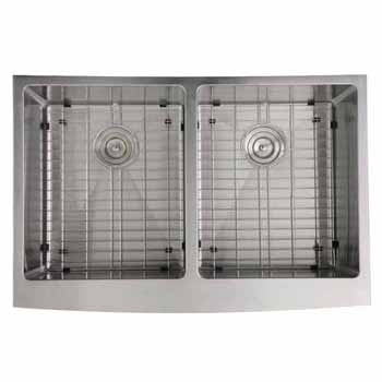 "Nantucket Sinks Pro Series Double Bowl Farmhouse Apron Front Stainless Steel Kitchen Sink, 33""W x 22-1/4""D x 10""H"
