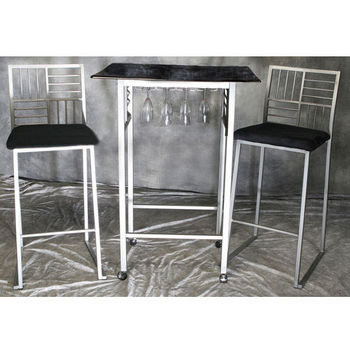 Black/Nickel Marble Dining Table Set