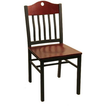 Alston Port Metal Swivel Chair with Mahogany Wood Seat & Back