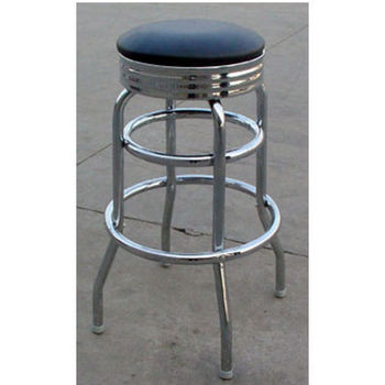 Backless Chrome Counter & Bar Stools with Black Vinyl Seat by Alston