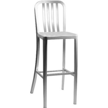 Alston Aluminum Dining Stool with Rail Back and Molded Seat