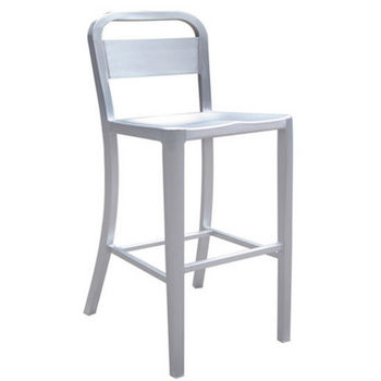 Danish Brushed Aluminum Bar Stool with Molded Seat by Alston