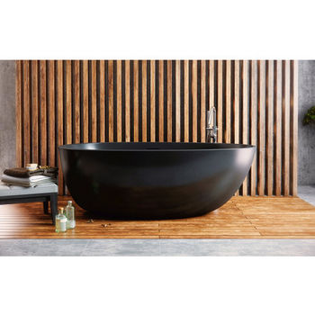 Aquatica PureScape AquateX™ Spoon 2-Egg Shaped Freestanding Solid Surface Bathtub, Matte Black