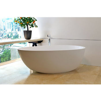 Aquatica PureScape AquateX™ Spoon 2-Egg Shaped Freestanding Solid Surface Bathtub, Matte White