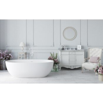 Aquatica PureScape AquateX™ Freestanding Oval Solid Surface Bathtub, Matte White