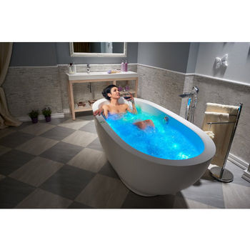 Aquatica Karolina™ Relax Solid Surface Air Massage Oval Bathtub, Matte White