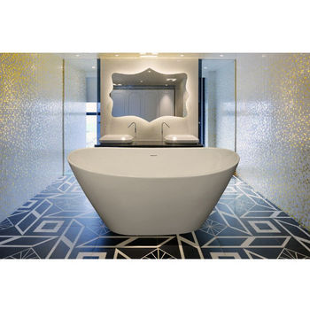 Aquatica PureScape EcoMarmor™ Freestanding Oval Cast Stone Bathtub, High Gloss White