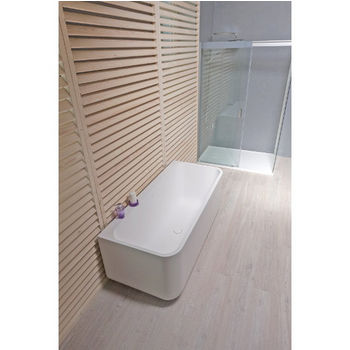 Aquatica Sincera™ Back To Wall Rectangular Solid Surface Bathtub, Matte White