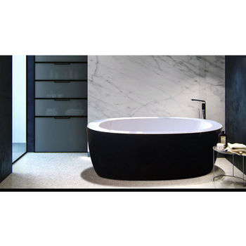 Aquatica PureScape™ Freestanding Oval Acrylic Bathtub, High Gloss Black Outside, White Inside