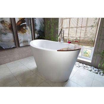 Aquatica True Ofuro Freestanding Stone Japanese Soaking Unique-Shaped Bathtub, Matte White