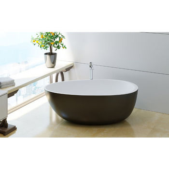 Aquatica PureScape AquateX™ Spoon 2-Egg Shaped Freestanding Solid Surface Bathtub, Matte Black Outside, White Inside