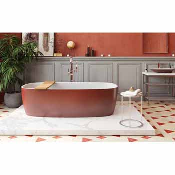 Red Outside White Inside Bathtub